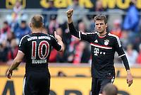 FUSSBALL   1. BUNDESLIGA  SAISON 2011/2012   34. Spieltag 1. FC Koeln - FC Bayern Muenchen        05.05.2012 Jubel nach dem Tor zum 0:1 Arjen Robben (li.) mit Thomas Mueller (FC Bayern Muenchen)