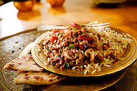 Lamb Keema Curry and pilau rice Indian food stock pictures, photos fotos & images