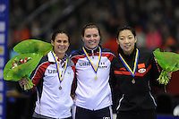 SCHAATSEN: HEERENVEEN: 13-12-2014, IJsstadion Thialf, ISU World Cup Speedskating, Podium Ladies 1000m Division A, Brittany Bowe (USA), Heather Richardson (USA), Qishi  Li (CHN), ©foto Martin de Jong