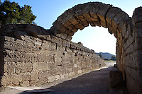 The entrance to the Stadium, Olympia, late 3rd century BC, the vaulted athletes entrance is 32 meters long - Excavation in the 19th century