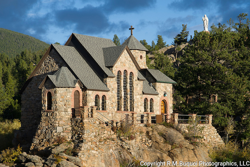 View of St. Catherine of Siena Chapel also known as the Chapel on the Rock near Aspenspark, Colorado