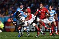 Ramiro Herrera of Argentina is tackled. Rugby World Cup Pool C match between Argentina and Tonga on October 4, 2015 at Leicester City Stadium in Leicester, England. Photo by: Patrick Khachfe / Onside Images