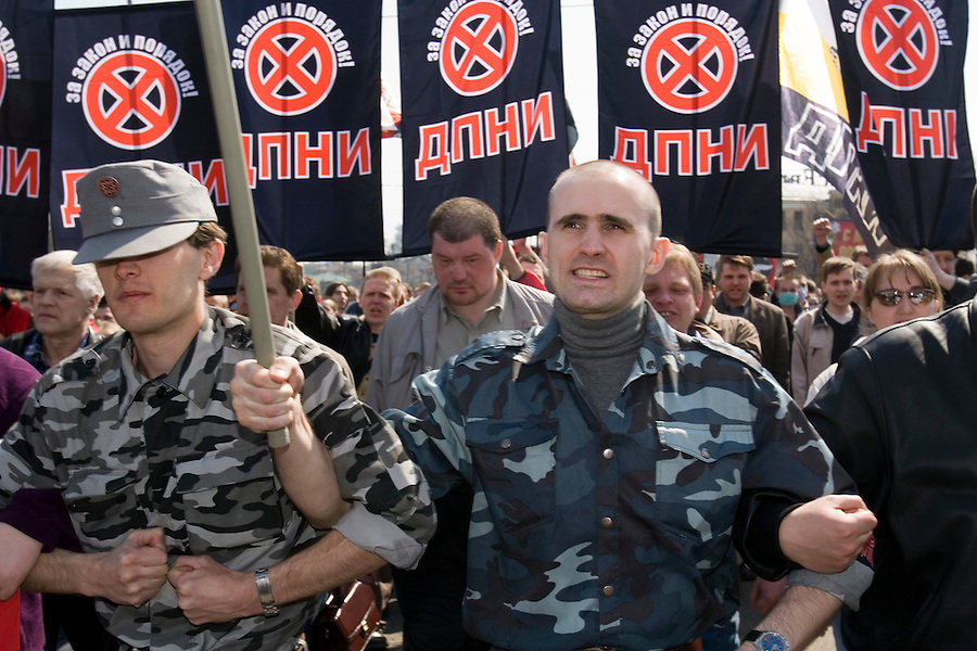 Moscow, Russia, 01/05/2006..Russian nationalists and neo-fascists gather and march in central Moscow under an anti immigration banner. A variety of political groups took to the streets on the traditional Mayday holiday.