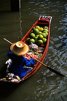 Boat carrying produce at the Floating Market, Damnoen Saduak (near Bangkok), Thailand