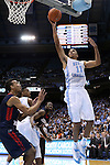16 November 2014: North Carolina's Brice Johnson (11) goes up for a dunk. The University of North Carolina Tar Heels played the Robert Morris University Colonials in an NCAA Division I Men's basketball game at the Dean E. Smith Center in Chapel Hill, North Carolina. UNC won the game 103-59.