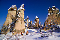 Goreme, Cappadocia, Nevsehir, Turkey, winter 2005. The valley of Pashabag. The Valleys of the Goreme National Park offer some very good snow shoeing. Many people who visit in the summer do not realize that temperatures in winter can go as low as minus 25 celcius, with a meter of snow on the ground.Photo by Frits Meyst / MeystPhoto.com
