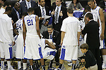 Head coach John Calipari huddles with his team during the second half of the UK men's basketball against Wake Forest for the second round of the NCAA tournament at New Orleans Arena on Saturday, March 20, 2010. The Cats won 90-60 over the Deacs. Photo by Adam Wolffbrandt | Staff
