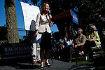"GOP Presidential candidate Rep. Michele Bachmann speaks at a ""Backyard Chat"" in Norwalk, Iowa, July 20, 2011."