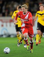 Fussball, 2. Bundesliga, Saison 2011/12, SG Dynamo Dresden - Fortuna Duesseldorf, Samstag (16.04.12), gluecksgas Stadion, Dresden. Duesseldorfs Sascha Roesler am Ball.