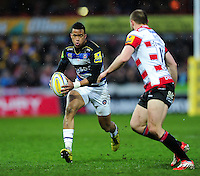 Anthony Watson of Bath Rugby in possession. Aviva Premiership match, between Gloucester Rugby and Bath Rugby on March 26, 2016 at Kingsholm Stadium in Gloucester, England. Photo by: Patrick Khachfe / Onside Images