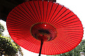 July 20, 2010 - Bangasa, or coarse oil paper red umbrella, is pictured in a restaurant near Heirinji, Rinzai temple of the Myoshin-ji branch located in Niiza city, Japan, on July 20, 2010. Visiting the temple and taste the buddhist vegetarian cuisine is part of a 'True Japan Saitama' tour, organized by the travel agency JTB for leisure travelers.