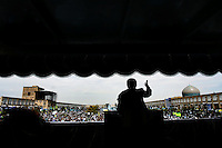 President Mahmoud Ahmadinejad gestures during a speech he delivered to a large crowd in the central square of the Iranian city of Isfahan (Esfahan). Naqsh-e Jahan Square is believed to be the largest in the Middle East.