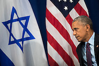 United States President Barack Obama looks on during a bilateral meeting with Prime Minister of Israel Benjamin Netanyahu at the Lotte New York Palace Hotel, September 21, 2016 in New York City. Last week, Israel and the United States agreed to a $38 billion, 10-year aid package for Israel. Obama is expected to discuss the need for a &quot;two-state solution&quot; for the Israeli-Palestinian conflict. <br /> Credit: Drew Angerer / Pool via CNP /MediaPunch
