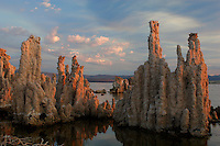 The Mono Laka Tufa Towers were formed when the area was covered with water. Underwater springs rich in calcium chemically reacted with the carbonates in the lake and over a period of decades created these calcium carbonate, or limestone, towers. Some towers reach heights of over 30 feet. The towers were exposed when water was diverted from Mono Lake to Southern California, drastically lowering the water level. Photographed August, 2007.