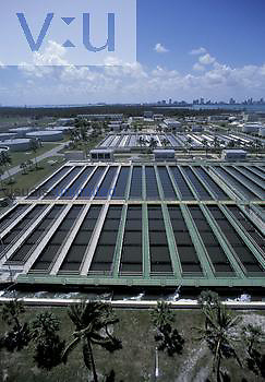 Aerial view of final settling tanks (foreground) and aeration basins (background), Miami, Florida, USA.