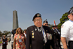 Private Les Pye from Blenheim, Marlborough, who served with the Royal Tank Regiment during the Korean War, takes part in a wreath-laying commemorative event for the 60th anniversary of the start of the Korean War in Seoul, South Korea..Photographer: Rob Gilhooly