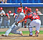 12 March 2012: Washington Nationals catcher Jesus Flores gets Yadier Molina out at the plate during a Spring Training game against the St. Louis Cardinals at Space Coast Stadium in Viera, Florida. The Nationals defeated the Cardinals 8-4 in Grapefruit League play. Mandatory Credit: Ed Wolfstein Photo