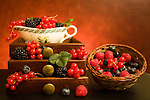 Still life with soft fruits in wooden drawers and basket. Available for download with RF licence. Also available prints and products.