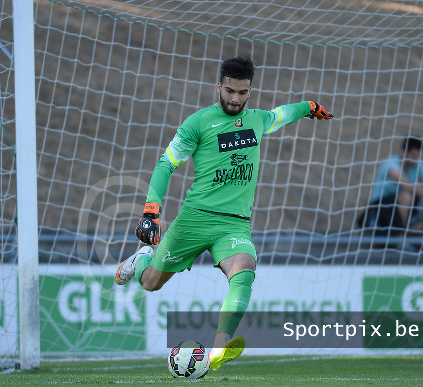 20150710 - DEINZE , BELGIUM : Deinze's goalkeeper Dannel Maxence pictured during a friendly match between Belgian first division team KV Kortrijk and Belgian second division soccer team SK Deinze , during the preparations for the 2015-2016 season, Friday 10th July 2015 in Deinze . PHOTO DAVID CATRY