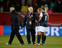 Offenbach, Germany, Friday, April 05 2013: Womans, Germany vs. USA, in the Stadium in Offenbach,   Headcoach Tom Sermanni, Kristie Mewis (USA).