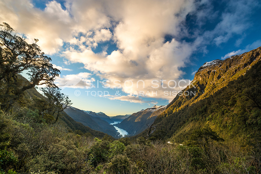 Doubtful Sound from the Summit of Wilmot Pass, Fiordland, South Island, New Zealand - stock photo, canvas, fine art print