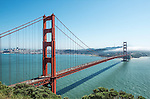 A view of the Golden Gate Bridge as seen from the Marin County headlands off Route 101 on the north side of the bridge.