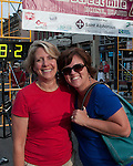 Anne Ellingson and Molly Holt at the finish line of the Main Street Mile in downtown Boise, Idaho on June 22, 2012.