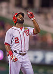 20 September 2013: Washington Nationals outfielder Denard Span gives thanks after safely hitting a triple against the Miami Marlins at Nationals Park in Washington, DC. The Nationals defeated the Marlins 8-0 to take the second game of their 4-game series. Mandatory Credit: Ed Wolfstein Photo *** RAW (NEF) Image File Available ***