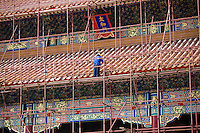 Renovation work being carried out on the Gate of Supreme Harmony in the Forbidden City, Beijing, China