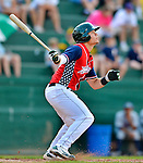 4 July 2012: Vermont Lake Monsters designated hitter Bruce Maxwell in action against the Hudson Valley Renegades at Centennial Field in Burlington, Vermont. The Lake Monsters edged out the Renegades the Cyclones 2-1 in NY Penn League action. Mandatory Credit: Ed Wolfstein Photo