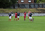 Vale of Leven 3 Ashfield 4, 03/09/2016. Millburn Park, West of Scotland League Central District Second Division. A stray dog is lead from the pitch during the second-half at Millburn Park, Alexandria, as Vale of Leven (in blue) hosted Ashfield in a West of Scotland League Central District Second Division Junior fixture. Vale of Leven were one of the founder members of the Scottish League in 1890 and remained part of the SFA and League structure until 1929 when the original club folded, only to be resurrected as a member of the Scottish Junior Football Association after World War II. They lost the match to Ashfield by 4-3, having led 3-1 with 10 minutes remaining. Photo by Colin McPherson.