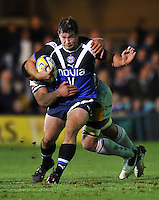 Nathan Catt is tackled in possession. Aviva Premiership match, between Bath Rugby and Northampton Saints on September 14, 2012 at the Recreation Ground in Bath, England. Photo by: Patrick Khachfe / Onside Images