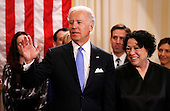 United States Vice President Joe Biden (L) after taking the oath of office from Supreme Court Justice Sonia Sotomayor (R) at the U.S. Naval Observatory in Washington January 20, 2013.     .Credit: Kevin Lamarque / Pool via CNP