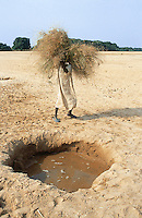 Sudan. West Darfur. Kerenek. A boy carrying grass on his head wakls near a water hole in the bed of a dry river (also called wadi).  © 2004 Didier Ruef
