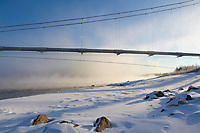 The Trans Alaska Pipeline crosses the Tanana River near Delta Junction, via a suspension bridge 1,299 ft. in length, which makes it the second longest pipeline bridge in Alaska.