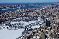 aerial photograph Manhattan, New York City after a snow storm