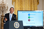 United States President Barack Obama makes remarks in the East Room of the White House in Washington, D.C. calling on Congress to return powers that would allow him to reform Executive Branch agencies of the U.S. Government on Friday, January 13, 2012..Credit: Ron Sachs / CNP