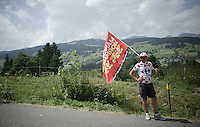 roadside flagged fan<br /> <br /> Stage 18 (ITT) - Sallanches &rsaquo; Meg&egrave;ve (17km)<br /> 103rd Tour de France 2016