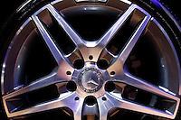 The Mercedes Benz logo is pictured on the wheel during the International Auto Show 2015 in New York. 04.06.2015. Eduardo MunozAlvarez/VIEWpress.