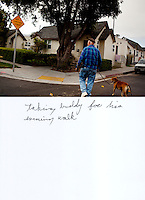"This is a scan of a print that was given to the subject, Gary Seymour, so that he could write his thoughts. He wrote:..""taking buddy for his evening walk""..Ventura, California, July 21, 2010 - Gary Seymour walks with his Staffordshire terrier, Buddy, in their neighborhood. Mr. Seymour says that he walks with Buddy several times each day. ""We get up at six and go to the coffee shop and take a walk up in the hills. In the evenings I walking him over to the Mission [downtown]."" Mr. Seymour has been homeless off and on for the last thirty years. He currently lives in a camper parked left to him by his father that is parked in the driveway of a friend's mother. Because it is an illegal camp, Mr. Seymour is considered homeless. He says, ""I work odd jobs, landscaping and whatnot to make a little money. I am trying to get back on my feet."" Mr. Seymour is proud that he does not panhandle. ""I earn my own living without asking people for handouts."" ...."