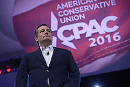 National Harbor, MD - March 4, 2016: U.S. Senator Ted Cruz addresses attendees at the 2016 Conservative Political Action Conference, hosted by the American Conservative Union, at the Gaylord National Hotel in National Harbor, MD, March 4, 2016. Each year, CPAC brings thousands of  people together to hear and interact with conservative movement leaders.   (Photo by Don Baxter/Media Images International)