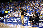 Drake cheers on the sideline at the Alumni Charity Basketball Game at Rupp Arena in Lexington, Ky., on Saturday, September 15, 2012. Photo by Tessa Lighty | Staff