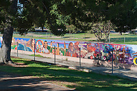 Great Wall Mural, Los Angeles, CA, Tujunga Wash, Sub Watershed, San Fernando Valley, largest monument to inter-racial harmony, the Great Wall is a landmark pictorial representation of the history of ethnic peoples of California from prehistoric times to the 1950's,