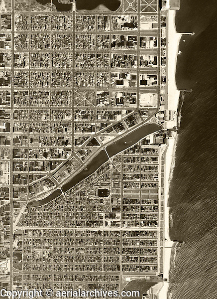 historical aerial photograph Asbury Park, Monmouth County New Jersey, 1953