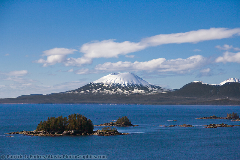 Inactive volcano Mount Edgecumbe, located on Kruzof Island, southeast, Alaska.