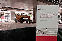 The construction site of the new services area above the tracks of the station dedicated to travelers.<br /> Presented the new services plate to Rome's Termini railway station, new surfaces for 6,500 square meters. Of which 4,550 dedicated to food &amp; beverage and logistics. Approximately 870 tons of steel and 1,000 cubic meters of concrete. For a total investment of 125 million euro. Rome, Italy. 23th February  2016