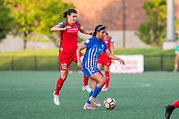 Boston, MA - Friday May 19, 2017: Christine Sinclair and Margaret Purce during a regular season National Women's Soccer League (NWSL) match between the Boston Breakers and the Portland Thorns FC at Jordan Field.