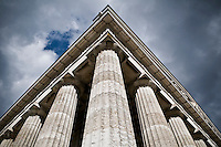 """Exterior culumns of Walhalla Temple, comissioned in 1826 by King Ludwig I of Bavaria is modeled after the Parthenon to serve  as a """"Germanic hall of fame."""" The temple contains 191 busts and plaques of famous Germanic speaking people."""