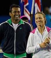 Leander Paes (IND) & Cara Black (ZIM) (1) against Ekaterina Makarova (RUS) & Jaroslav Levinsky (CZE). Paes & Black beat Makarova & Levinsky 7-5 6-3..International Tennis - Australian Open Tennis - Sunday 31 Jan 2010 - Melbourne Park - Melbourne - Australia ..© Frey - AMN Images, 1st Floor, Barry House, 20-22 Worple Road, London, SW19 4DH.Tel - +44 20 8947 0100.mfrey@advantagemedianet.com