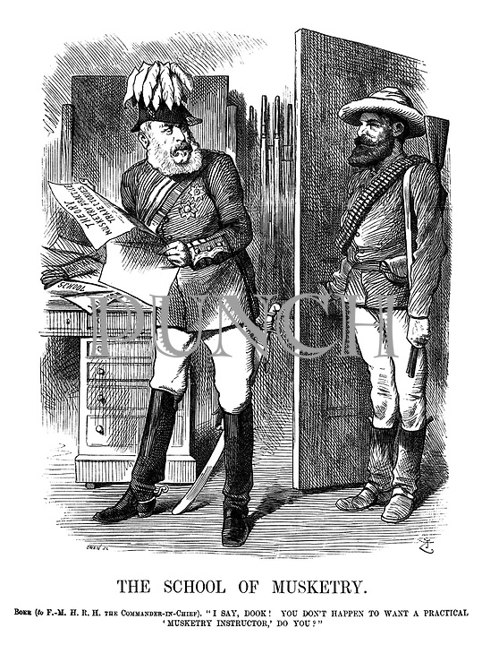"""The School of Musketry. Boer (to F.-M.H.R.H. The Commander-in-Chief). """"I say, dook! You don't happen to want a practical 'Musketry Instructor',' do you?"""""""